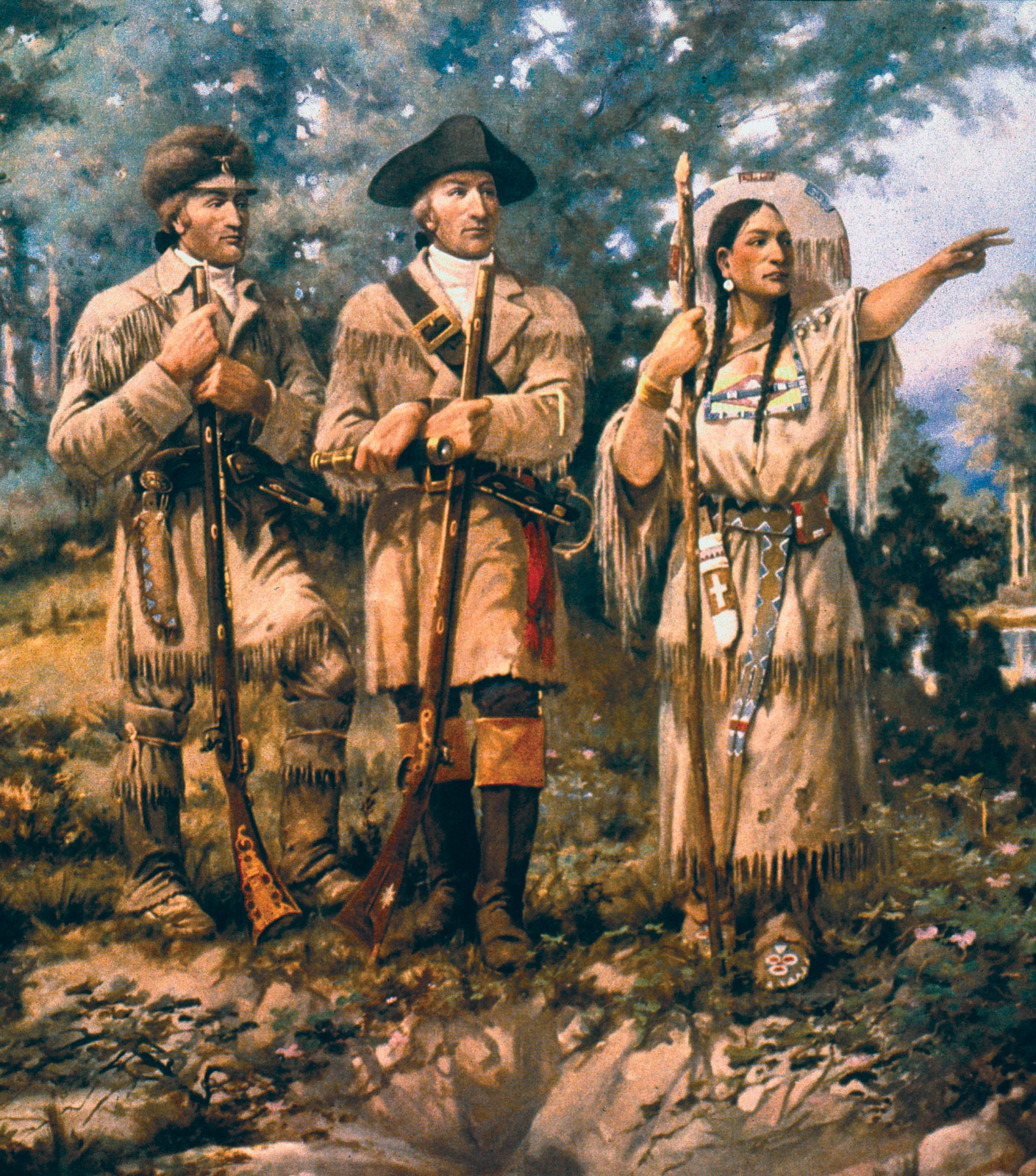 Lewis_&_Clark with an Indian native girandoni air rifle