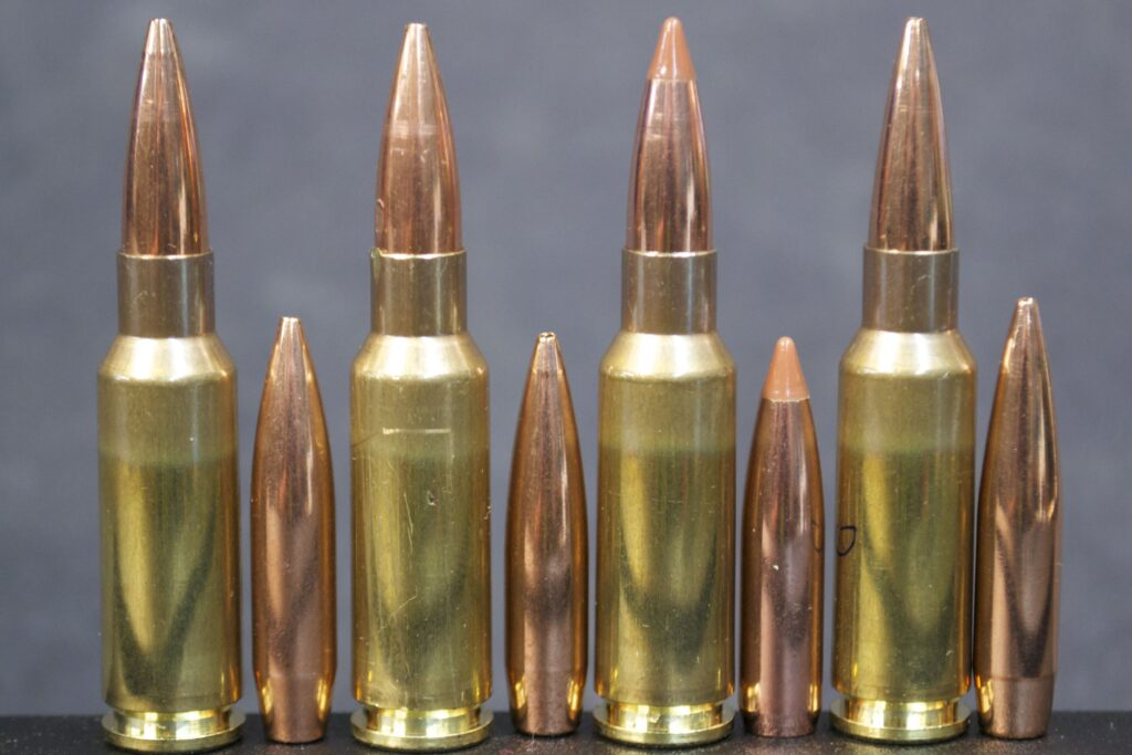 four bullets of 6.5mm Grendel and four bullets in cartridge case