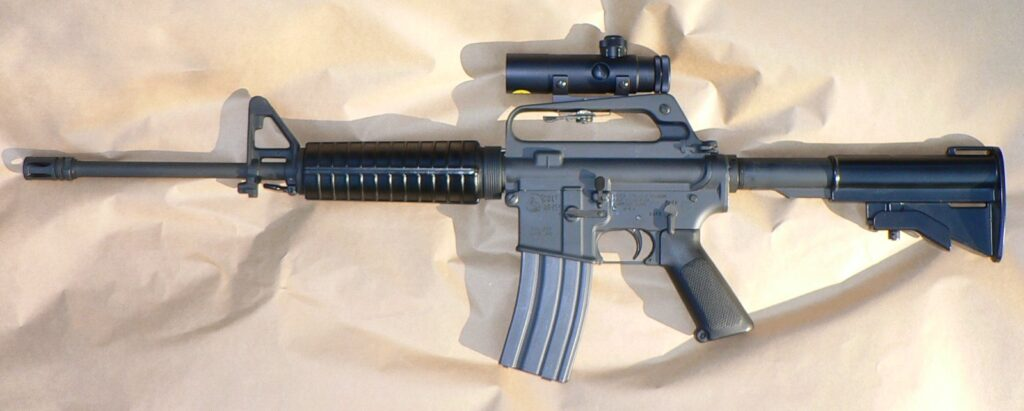 photo of an AR-15 rifle with scope